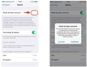 Ahoro de batería en iOS 9