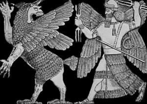 Ninurta matando al pájaro Anzu.