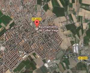 Localización del la población de Cullar Vega, Granada, España.