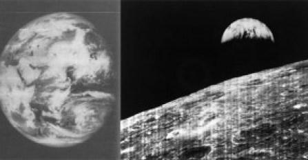 Las dos primeras imágenes de la Tierra desde la Luna realizadas desde las Sondas Orbiter entre 1966 y 1967.