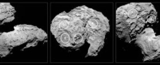 """Estas son las zonas que se eligieron para los posibles aterrizajes del módulo Philae. Se decidieron al final por la Zona """"J"""" que podéis verla en la imagen."""