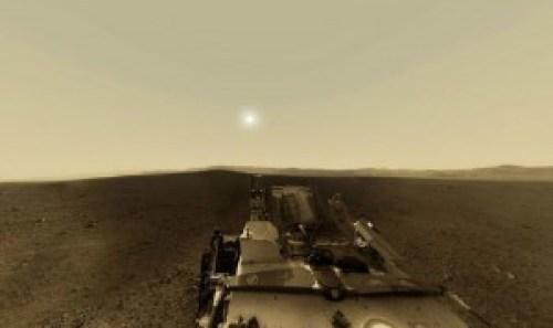 Imagen de cielo marciano según fotografías de la Nasa, de color rojizo.