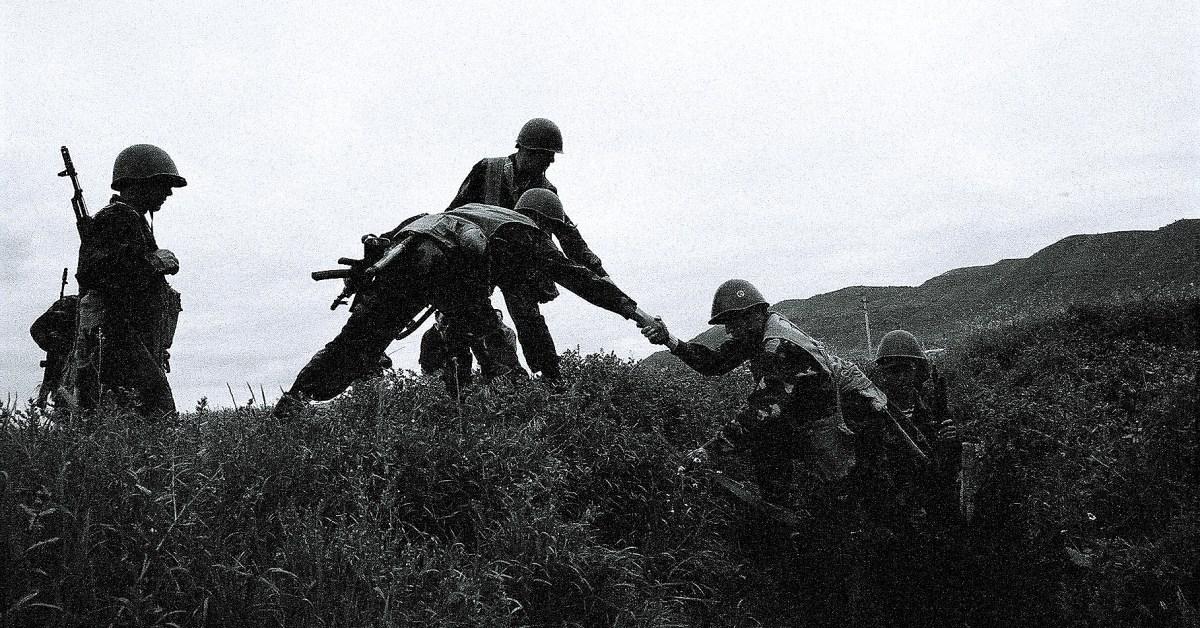 I soldati di Nagorno-Karabakh durante un'operazione militare