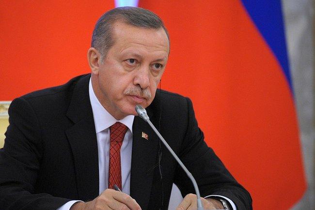 Il Presidente turco Recep Tayyip Erdogan durante un meeting in Russia
