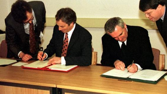 Ulster PM Blair/Ahern sign