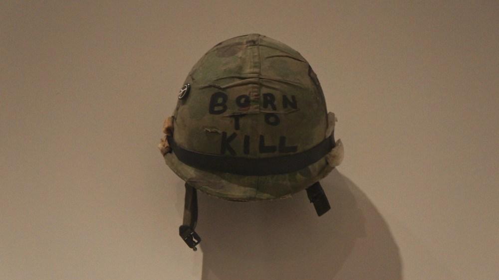 Stanley_Kubrick_The_Exhibition_-_LACMA_-_Full_Metal_Jacket_-_Joker's_helmet_(8998516647)