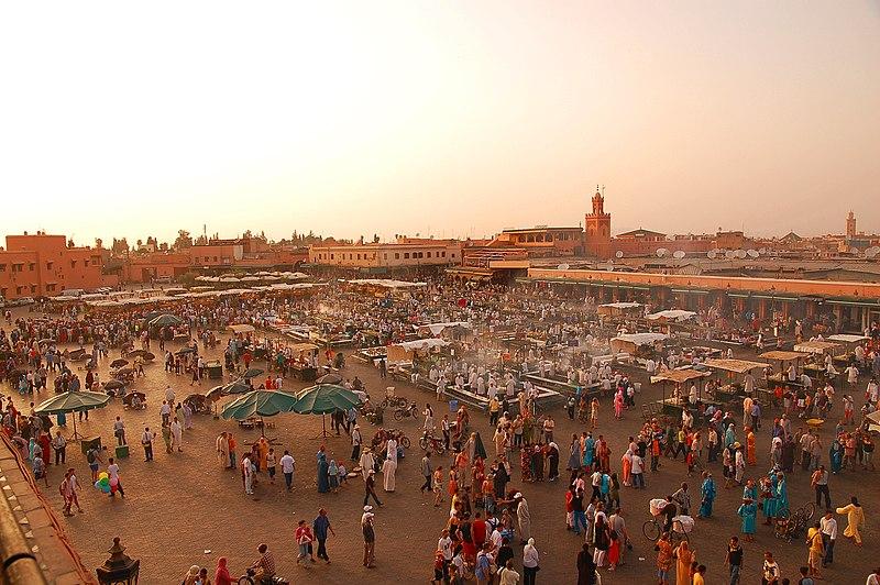 Mercato Jemaa-el-Fna a Marrakech, in Marocco