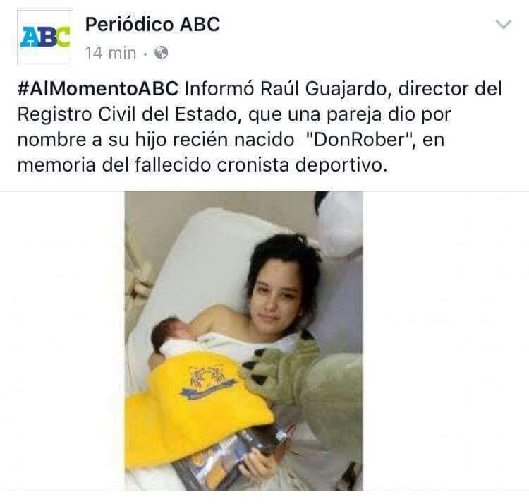 Nuevo León niño DonRober Roberto Hernández Don Rober Hernández Junior registro civil niño llamado Gignac Tigres Monterrey nombre