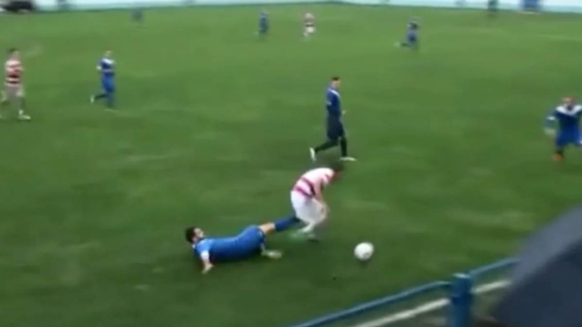 Testículo patada futbolista Bosnia Marin Galic Zrinjski Mostin