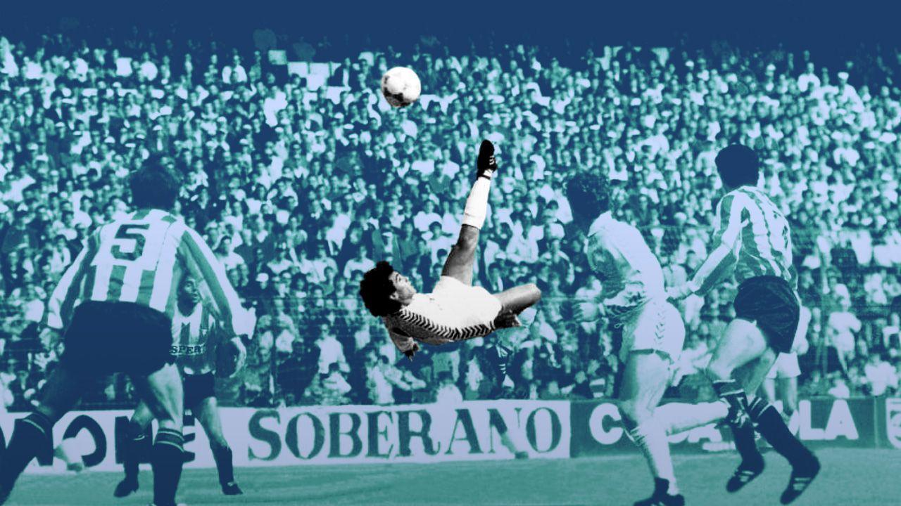 Juan Antonio Perez, Mitico Gol, Hugo Sanchez, 30 años, Real Madrid, Martin Vazquez, Chilena, Logroñés, Remate, Mexicano, Remate