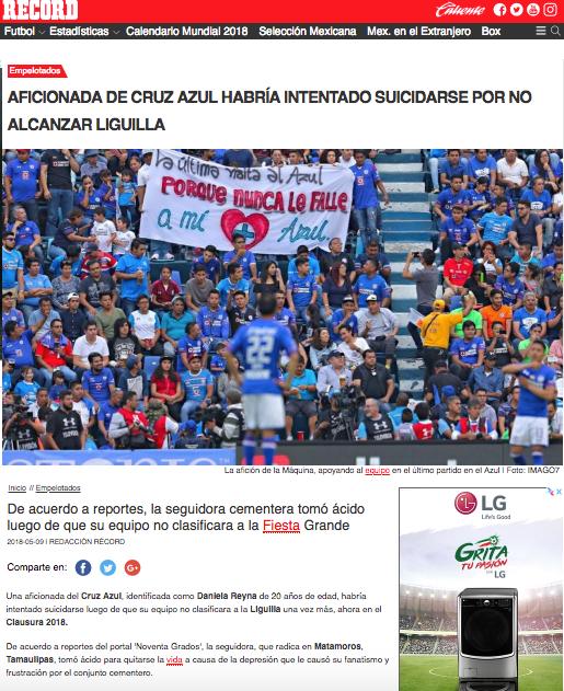 Aficionada Cruz Azul Suicidio Calificar Tamaulipas Liguilla Liga MX Record