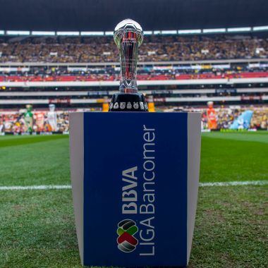 MEXICO CITY, MEXICO - DECEMBER 15: The Liga MX trophy is shown before the leg 2 of the match between America and Leon as part of the Playoffs Apertura 2013 Liga MX at Azteca Stadium on December 15, 2013 in Mexico City, Mexico.