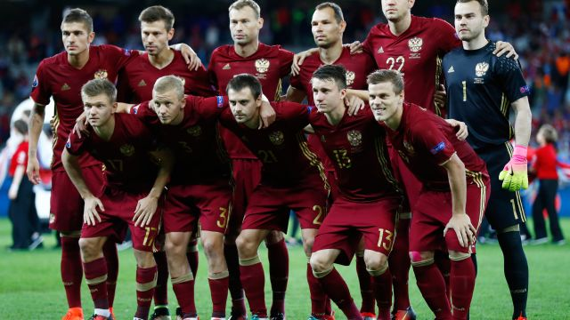 LILLE, FRANCE - JUNE 15: The Russia team line up during the UEFA EURO 2016 Group B match between Russia and Slovakia at Stade Pierre-Mauroy on June 15, 2016 in Lille, France.