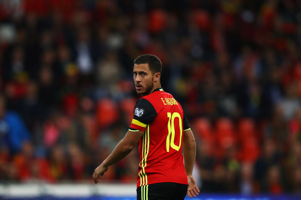 BRUSSELS, BELGIUM - AUGUST 31: Eden Hazard of Belgium looks on during the FIFA 2018 World Cup Qualifier between Belgium and Gibraltar at Stade Maurice Dufrasne on August 31, 2017 in Liege, Belgium.