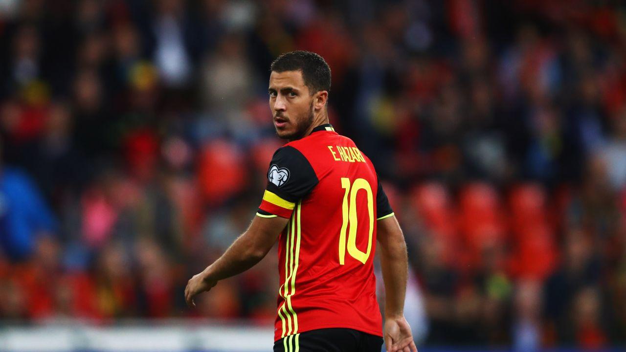 BRUSSELS, BELGIUM - AUGUST 31: Eden Hazard of Belgium looks on during the FIFA 2018 World Cup Qualifier between Belgium and Gibraltar at Stade Maurice Dufrasne on August 31, 2017 in Liege, Belgium. (