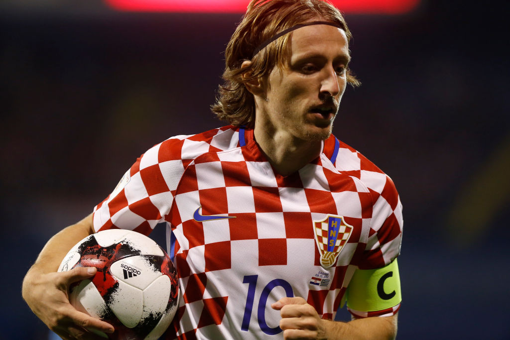 ZAGREB, CROATIA - NOVEMBER 09: Luka Modric of Croatia during the FIFA 2018 World Cup Qualifier Play-Off: First Leg between Croatia and Greece at Stadion Maksimir on November 9, 2017 in Zagreb, Croatia
