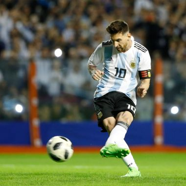BUENOS AIRES, ARGENTINA - MAY 29: Lionel Messi of Argentina kicks a penalty to score the first goal of his team during an international friendly match between Argentina and Haiti at Alberto J. Armando Stadium on May 29, 2018 in Buenos Aires, Argentina.