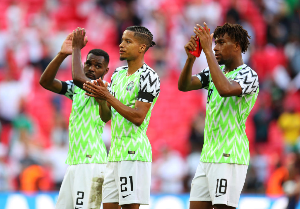 LONDON, ENGLAND - JUNE 02: Tyronne Ebuehi (centre) of Nigeria applauds after the International Friendly match between England and Nigeria at Wembley Stadium on June 2, 2018 in London, England.
