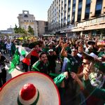 MOSCOW, RUSSIA - JUNE 13: Mexican fans celebrate after winning the offer of the 2026 FIFA World Cup in conjunction with the United States and Canada, at Moscow downtown on June 13, 2018 in Moscow, Russia. (