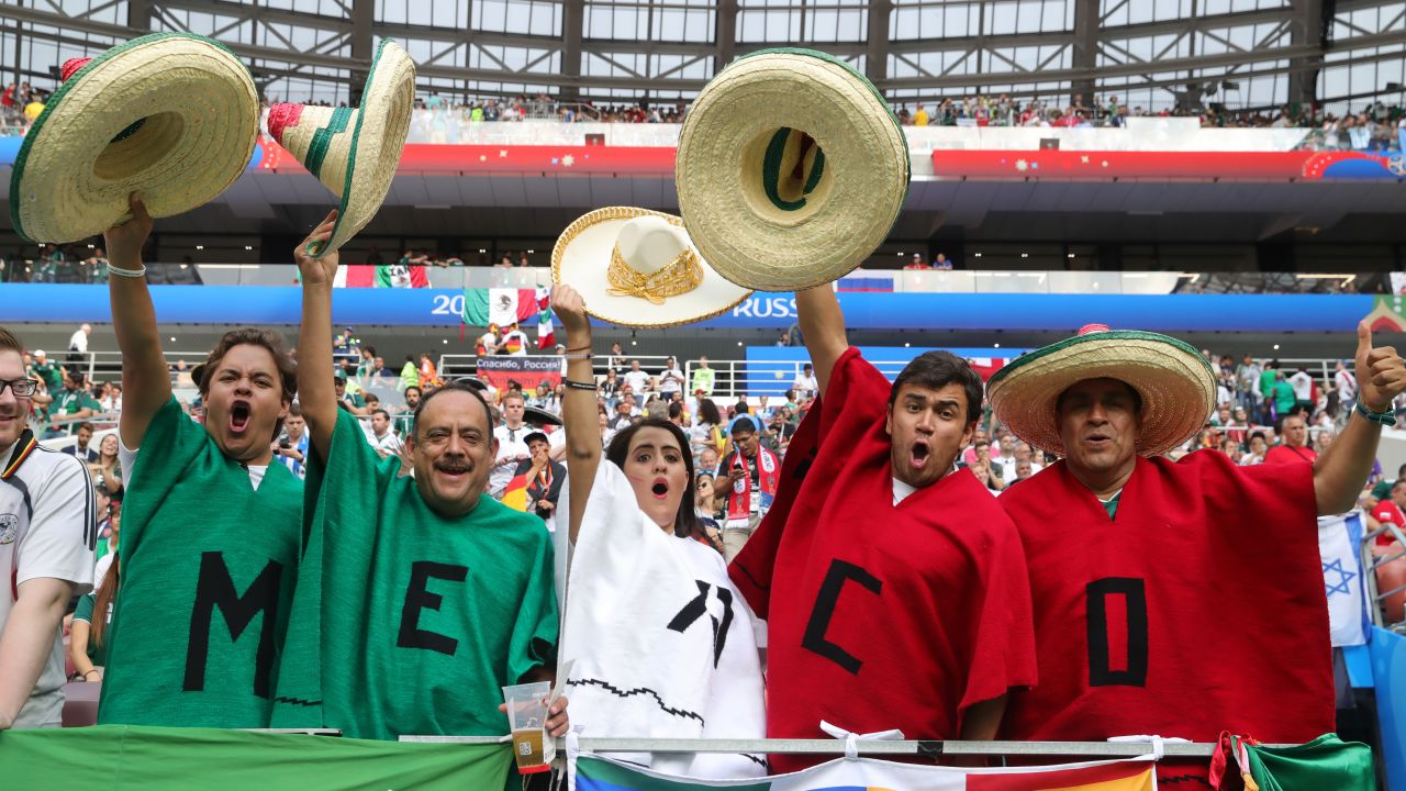MOSCOW, RUSSIA - JUNE 17: Fans of Mexico enjoy the pre match atmosphere prior to the 2018 FIFA World Cup Russia group F match between Germany and Mexico at Luzhniki Stadium on June 17, 2018 in Moscow, Russia.