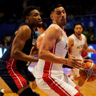 MEXICO CITY, MEXICO - JUNE 28: Gustavo Ayon of Mexico competes for position with Kevin Jones of USA during the match between Mexico and USA as part of the FIBA World Cup China 2019 Qualifiers at Gimnasio Juan de la Barrera on June 28, 2018 in Mexico City, Mexico.