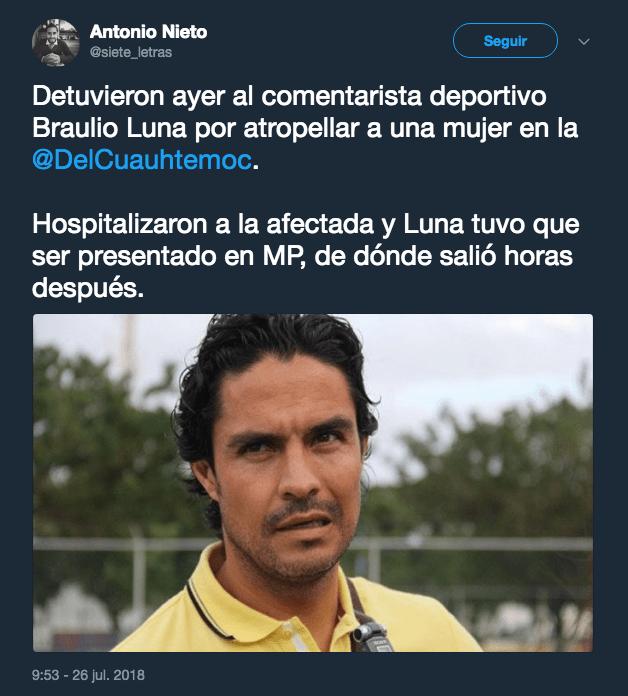 Braulio Luna, Atropellar, Mujer, MP
