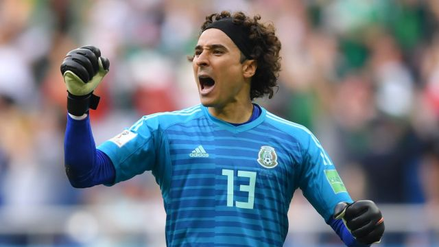 ROSTOV-ON-DON, RUSSIA - JUNE 23: Guillermo Ochoa of Mexico celebrates his team's first goal during the 2018 FIFA World Cup Russia group F match between Korea Republic and Mexico at Rostov Arena on June 23, 2018 in Rostov-on-Don, Russia.