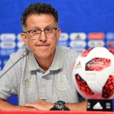 SAMARA, RUSSIA - JULY 01: Juan Carlos Osorio, coach of Mexico, looks on during a press conference at Samara Arena ahead of the Round of Sixteen match against Brazil on July 1, 2018 in Samara, Russia.