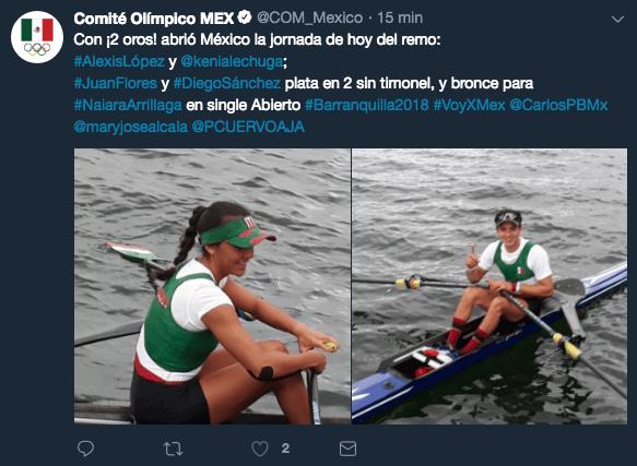 México en Juegos Centroamericanos, Barranquilla 2018, Medallas, Remo