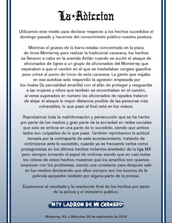 Barra Brava Monterrey Violencia Clásico Regio Tigres Comunicado Adicción