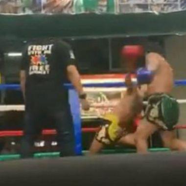 06/01/2020. Boxeador Muay Thai Tailandia Nocaut Los Pleyers, Pantallazo del golpe.