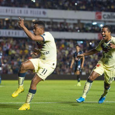 09/02/2020. América Liga mx Grandeza Bajas Los Pleyers, Ibargüen y giovani festejan un gol ante Querétaro.