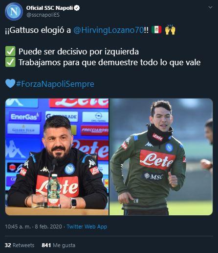 8/02/2020, Gattuso habla de situación de Hirving Lozano en Napoli