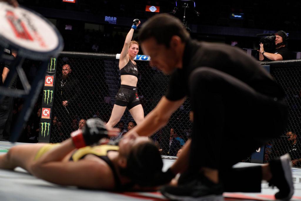 23/02/2020. Irene Aldana UFC Inspiración Artes Marciales Mixtas Los Pleyers, Irene Aldana en un pesaje.
