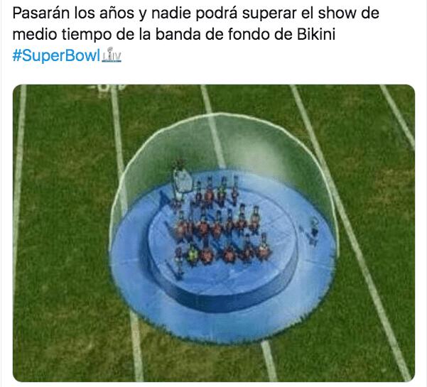 02/02/2020. Meme Medio Tiempo Bob Esponja Los Pleyers, Bob Esponja en el espectáculo del Super Bowl.