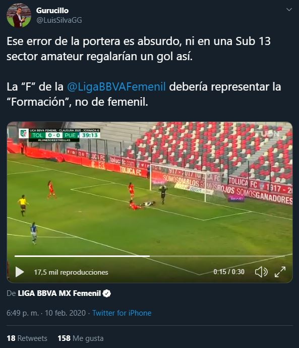 11/02/2019, Satanizan error de Alondra Ubaldo con Toluca en la Liga MX Femenil