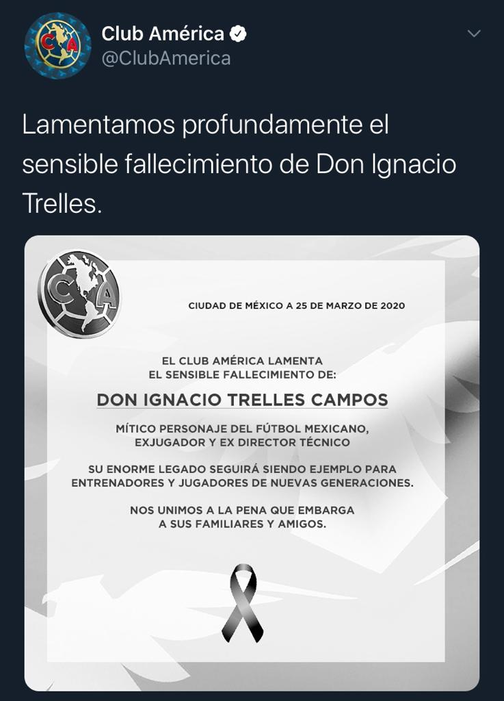 25/03/2020. América Nacho Trelles Los Pleyers, Tweet del América.