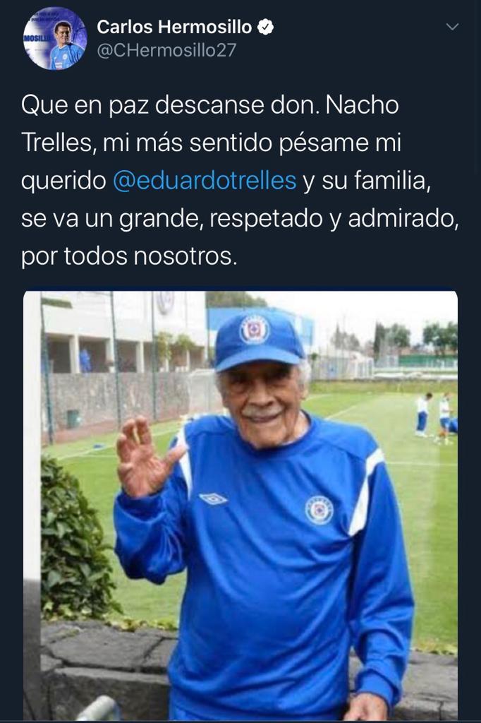 25/03/2020. Carlos Hermosillo Nacho Trelles Los Pleyers, Tweet de Carlos Hermosillo.