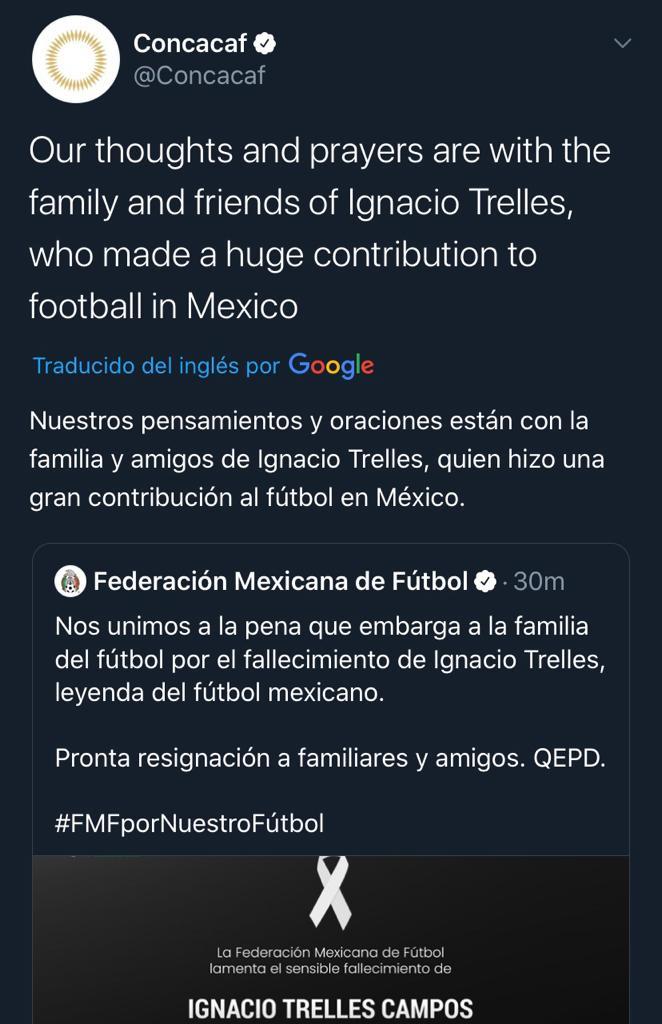 25/03/2020. Concacaf Nacho Trelles Los Pleyers, Tweet Concacaf.