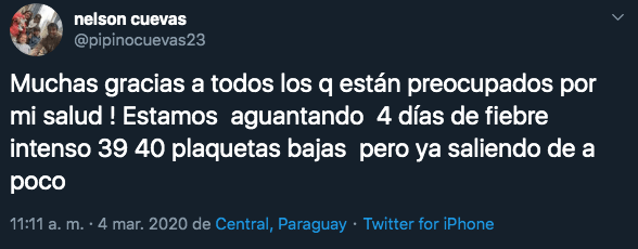 04/03/2020. Pipino Cuevas Dengue Twitter Los Pleyers, Twitter de Nelson Cuevas.