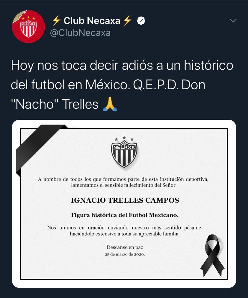 25/03/2020. Tweet Necaxa Nacho Trelles Los Pleyers, Tweet del Necaxa para despedir a Nacho Trelles.