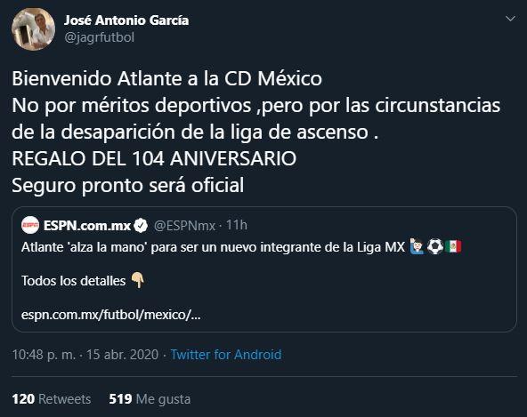 16/04/2020, Atlante jugaría en CDMX si llega a la Liga MX por la cancelación del Ascenso