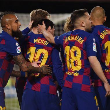 07/03/2020. Barcelona Messi Venta Jugadores Los Pleyers, Jugadores del Barcelona festejan un gol.