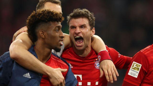 09/11/2019. Bundesliga Torneo Coronavirus Reanudación Los Pleyers, Thomas Müller celebra junto a sus compañeros del Bayern.