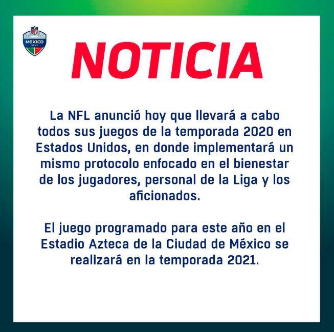 04/05/2020, Se procedería a cancelar el juego de la NFL México por el coronavirus