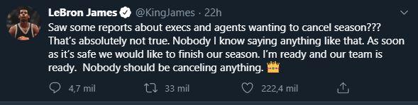 01/05/2020. Tweet LeBron James Los Pleyers, Captura al tweet de LeBron James.
