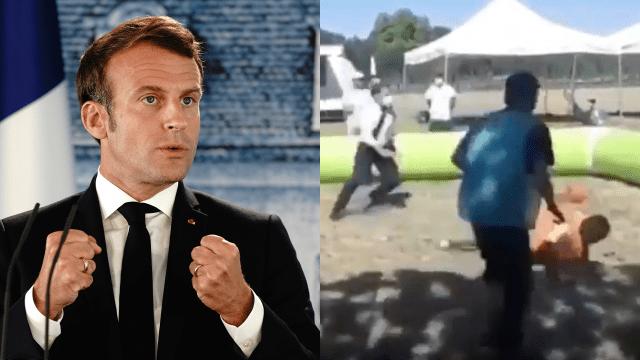 Emmanuel Macron da pelotazo a joven y lo noquea [VIDEO] 24/07/2020