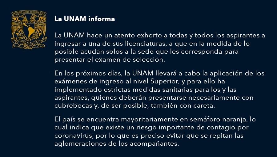 Estadio Olímpico Universitario será sede de examen de admisión a la UNAM