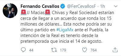 Fernando Cevallos Tuit Chivas Real Sociedad Macías Los Pleyers