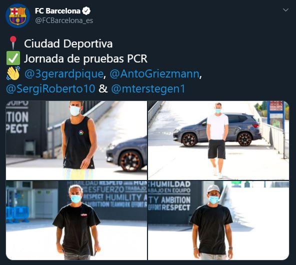 Lionel Messi no se presenta a pruebas de coronavirus de Barcelona pero Piqué, Griezmann, Sergi Roberto y Ter Stegen sí